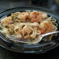 Sauteed Shrimp with Clam Sauce over Fettuccine