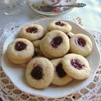 Strawberry Filled Butter Cookies w/ Lemon Glaze