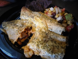 Shrimp Enchiladas served with Black Bean Salsa